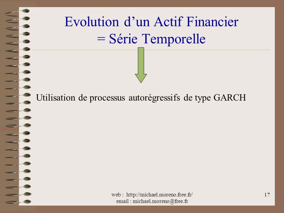 web : http://michael.moreno.free.fr/ email : michael.moreno@free.fr 17 Evolution dun Actif Financier = Série Temporelle Utilisation de processus autorégressifs de type GARCH