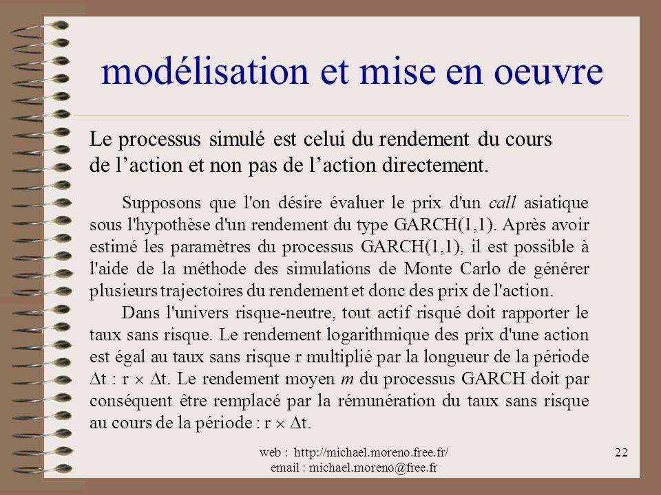 web : http://michael.moreno.free.fr/ email : michael.moreno@free.fr 22 modélisation et mise en oeuvre Le processus simulé est celui du rendement du cours de laction et non pas de laction directement.