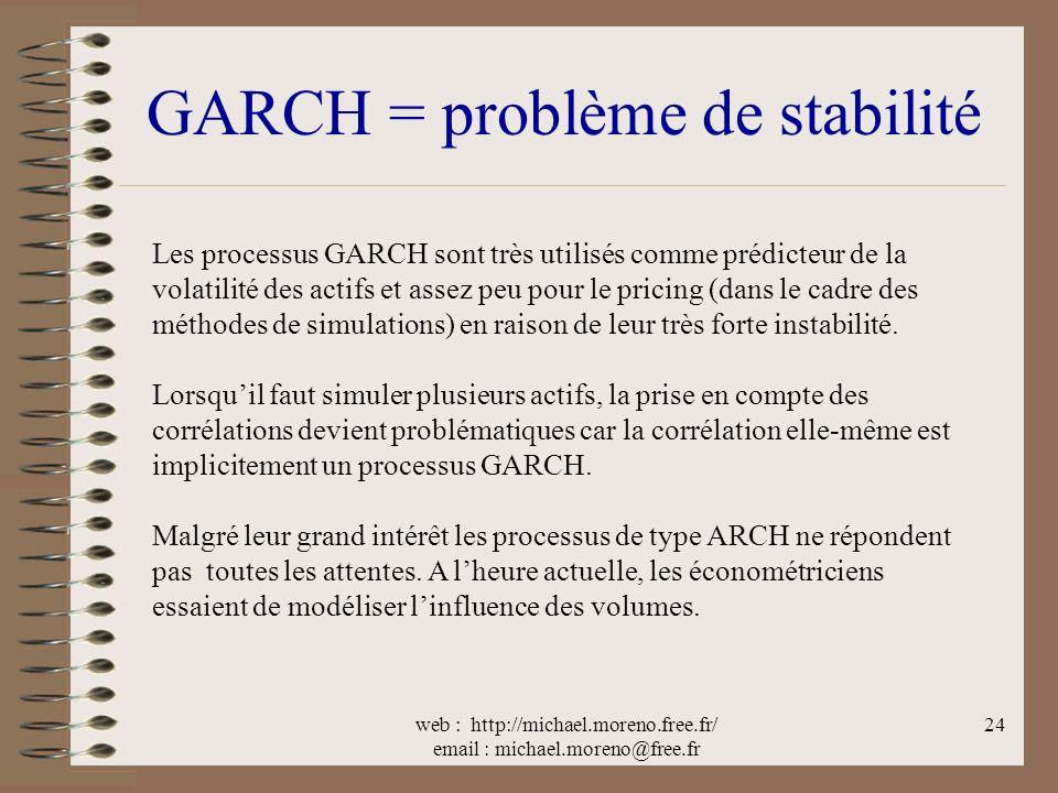 web : http://michael.moreno.free.fr/ email : michael.moreno@free.fr 24 GARCH = problème de stabilité Les processus GARCH sont très utilisés comme prédicteur de la volatilité des actifs et assez peu pour le pricing (dans le cadre des méthodes de simulations) en raison de leur très forte instabilité.