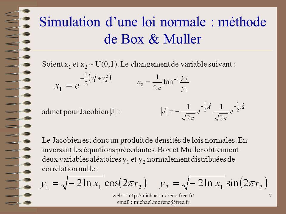 web : http://michael.moreno.free.fr/ email : michael.moreno@free.fr 7 Simulation dune loi normale : méthode de Box & Muller Soient x 1 et x 2 ~ U(0,1).