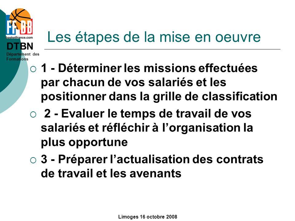 DTBN Département des Formations Limoges 16 octobre 2008 Les étapes de la mise en oeuvre 1 - Déterminer les missions effectuées par chacun de vos salar