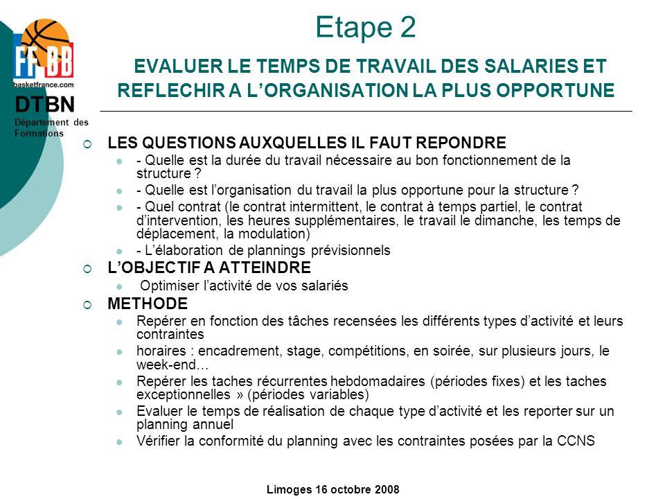 DTBN Département des Formations Limoges 16 octobre 2008 Etape 2 EVALUER LE TEMPS DE TRAVAIL DES SALARIES ET REFLECHIR A LORGANISATION LA PLUS OPPORTUN