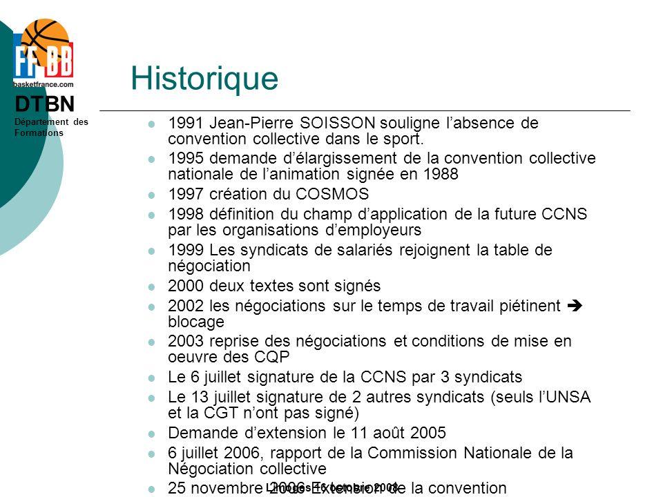 DTBN Département des Formations Limoges 16 octobre 2008 Historique 1991 Jean-Pierre SOISSON souligne labsence de convention collective dans le sport.