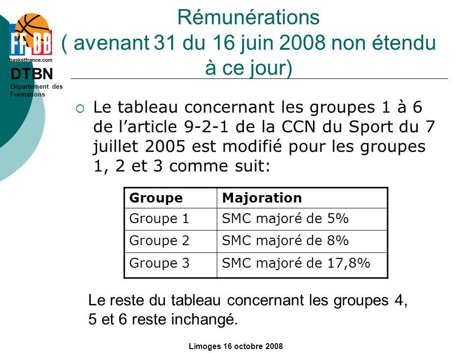 DTBN Département des Formations Limoges 16 octobre 2008 Rémunérations ( avenant 31 du 16 juin 2008 non étendu à ce jour) Le tableau concernant les gro