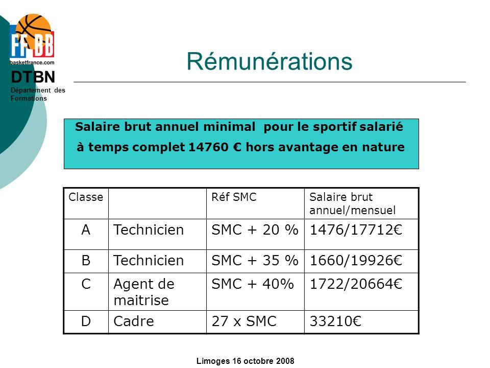 DTBN Département des Formations Limoges 16 octobre 2008 Rémunérations ClasseRéf SMCSalaire brut annuel/mensuel ATechnicienSMC + 20 %1476/17712 BTechni