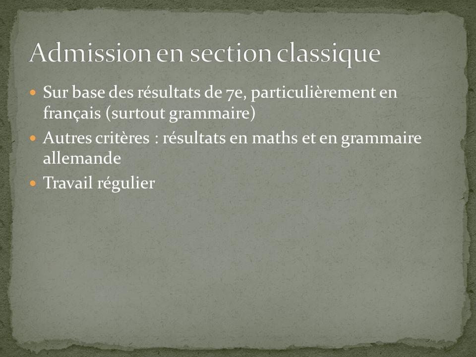 Sur base des résultats de 7e, particulièrement en français (surtout grammaire) Autres critères : résultats en maths et en grammaire allemande Travail