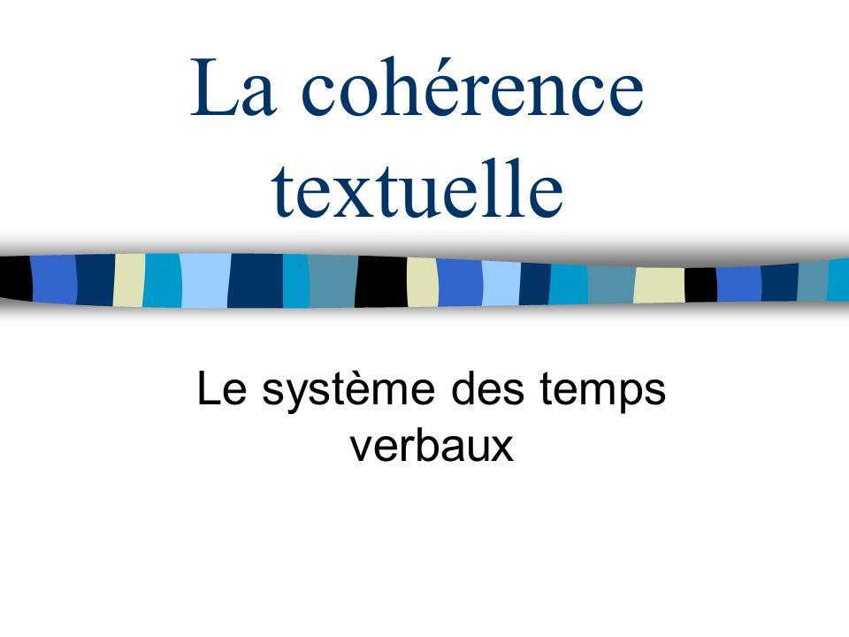 La cohérence textuelle Le système des temps verbaux