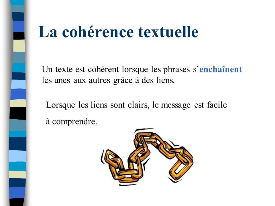 La cohérence textuelle Un texte est cohérent lorsque les phrases senchaînent les unes aux autres grâce à des liens. Lorsque les liens sont clairs, le