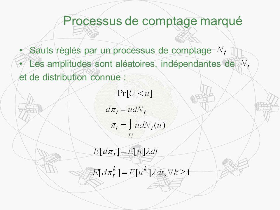 Processus de comptage marqué Sauts règlés par un processus de comptage Les amplitudes sont aléatoires, indépendantes de et de distribution connue :