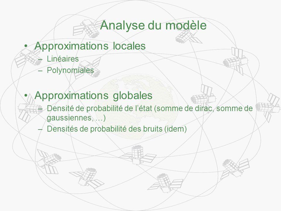 Analyse du modèle Approximations locales –Linéaires –Polynomiales Approximations globales –Densité de probabilité de létat (somme de dirac, somme de gaussiennes, …) –Densités de probabilité des bruits (idem)