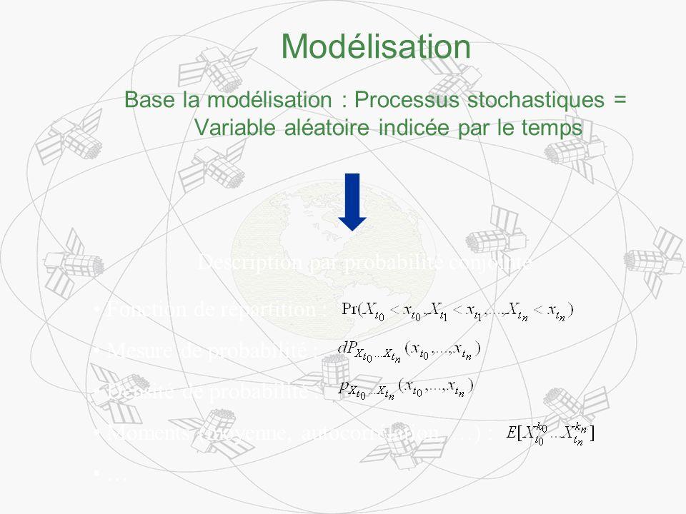 Modélisation Base la modélisation : Processus stochastiques = Variable aléatoire indicée par le temps Description par probabilité conjointe Fonction de répartition : Mesure de probabilité : Densité de probabilité : Moments (moyenne, autocorrélation, …) : …