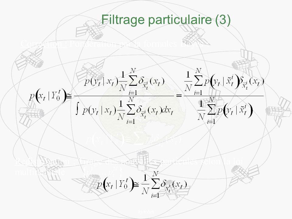 Ignotus Filtrage particulaire (3) Redistribution : Tirage des nouvelles particules selon la loi multinomiale Correction : Pondération par la formules Bayes :