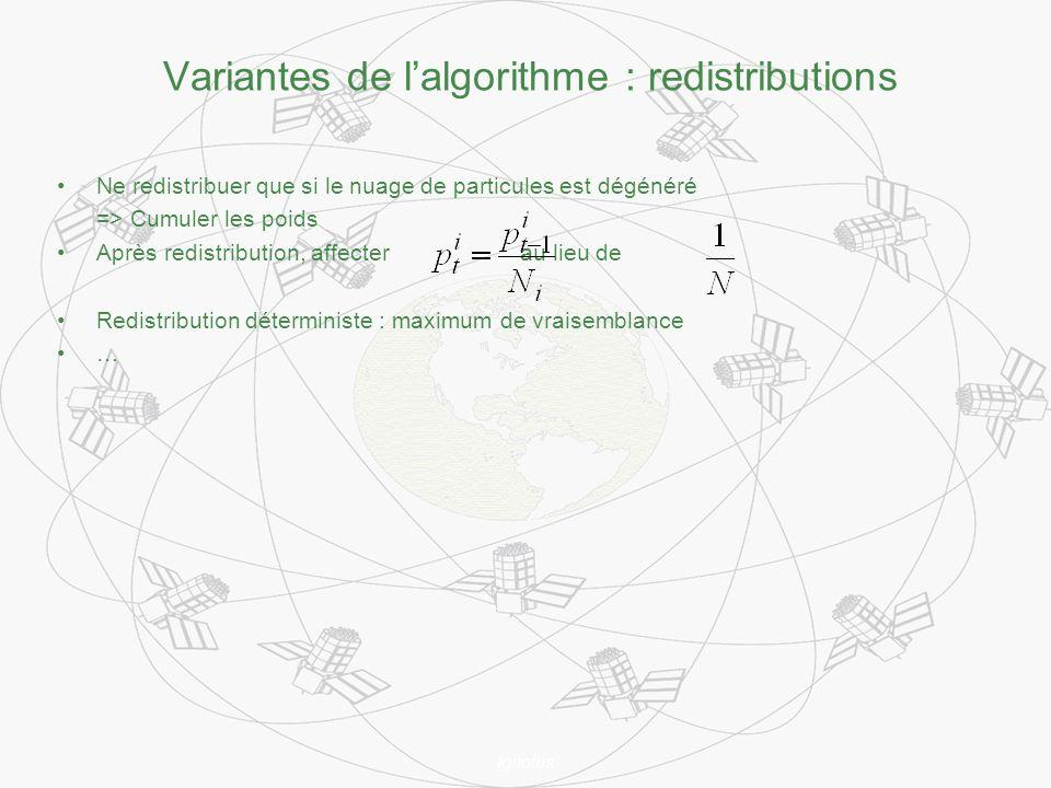 Ignotus Variantes de lalgorithme : redistributions Ne redistribuer que si le nuage de particules est dégénéré => Cumuler les poids Après redistribution, affecter au lieu de Redistribution déterministe : maximum de vraisemblance …