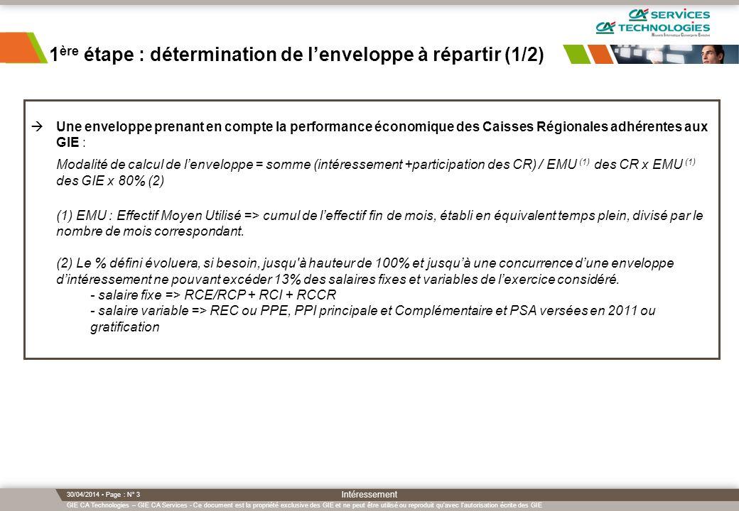 GIE CA Technologies – GIE CA Services - Ce document est la propriété exclusive des GIE et ne peut être utilisé ou reproduit qu avec l autorisation écrite des GIE 30/04/2014 Page : N° 3 Intéressement 1 ère étape : détermination de lenveloppe à répartir (1/2) Une enveloppe prenant en compte la performance économique des Caisses Régionales adhérentes aux GIE : Modalité de calcul de lenveloppe = somme (intéressement +participation des CR) / EMU (1) des CR x EMU (1) des GIE x 80% (2) (1) EMU : Effectif Moyen Utilisé => cumul de leffectif fin de mois, établi en équivalent temps plein, divisé par le nombre de mois correspondant.