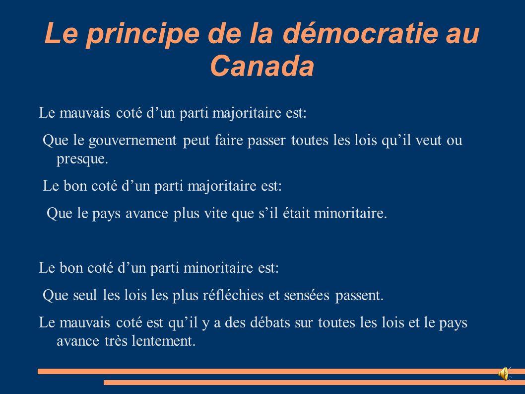Le principe de la démocratie au Canada Le mauvais coté dun parti majoritaire est: Que le gouvernement peut faire passer toutes les lois quil veut ou p