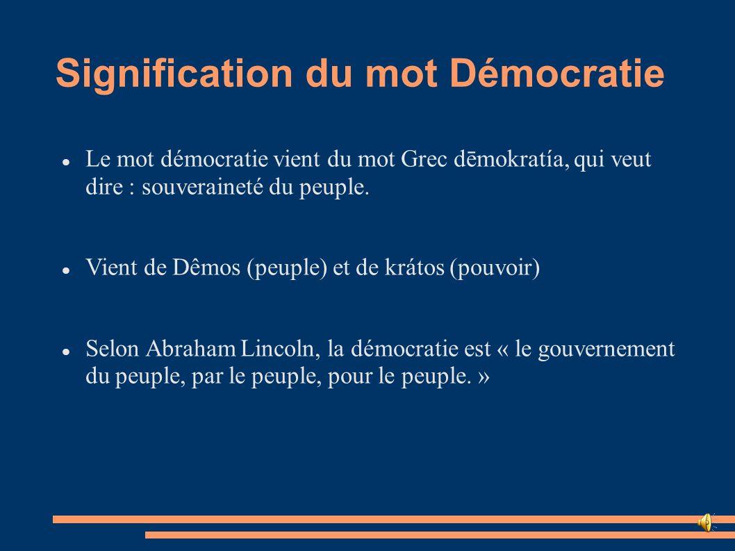Signification du mot Démocratie Le mot démocratie vient du mot Grec dēmokratía, qui veut dire : souveraineté du peuple. Vient de Dêmos (peuple) et de