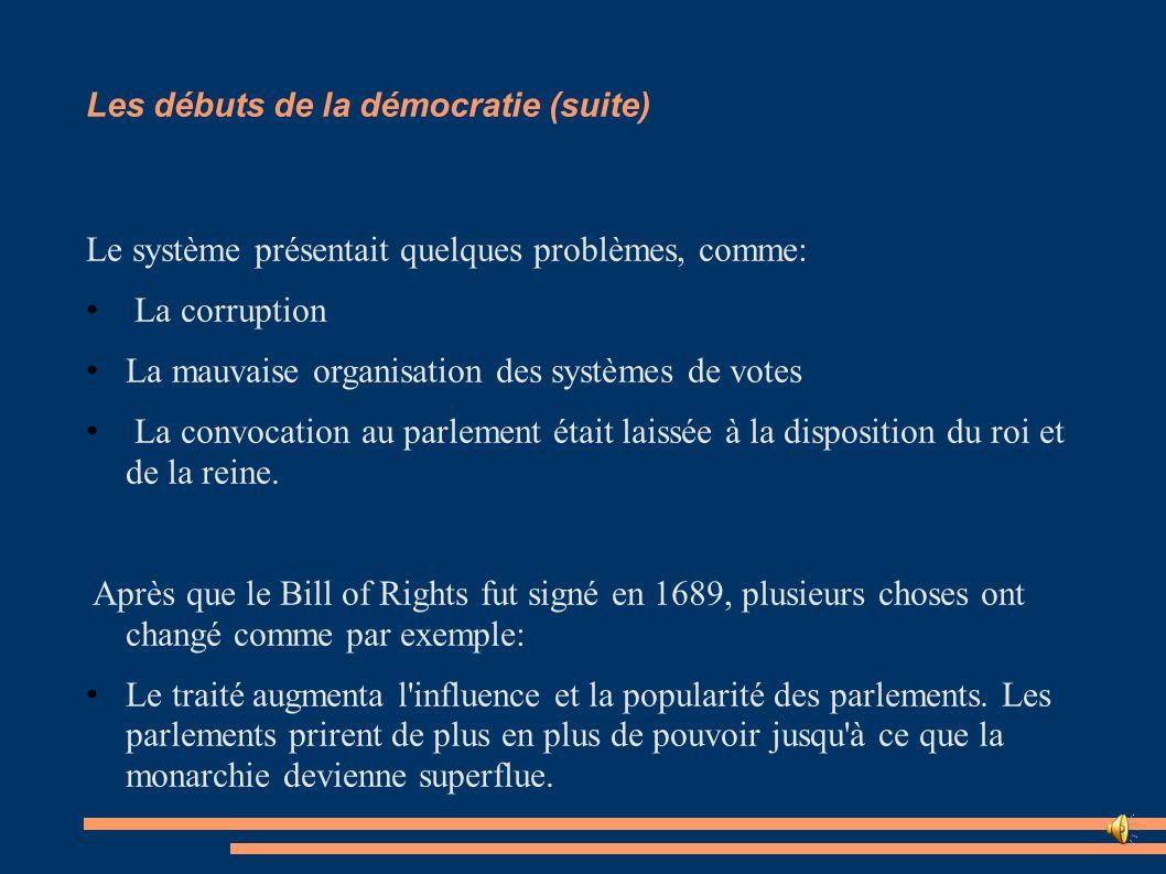 Les débuts de la démocratie (suite) Le système présentait quelques problèmes, comme: La corruption La mauvaise organisation des systèmes de votes La c