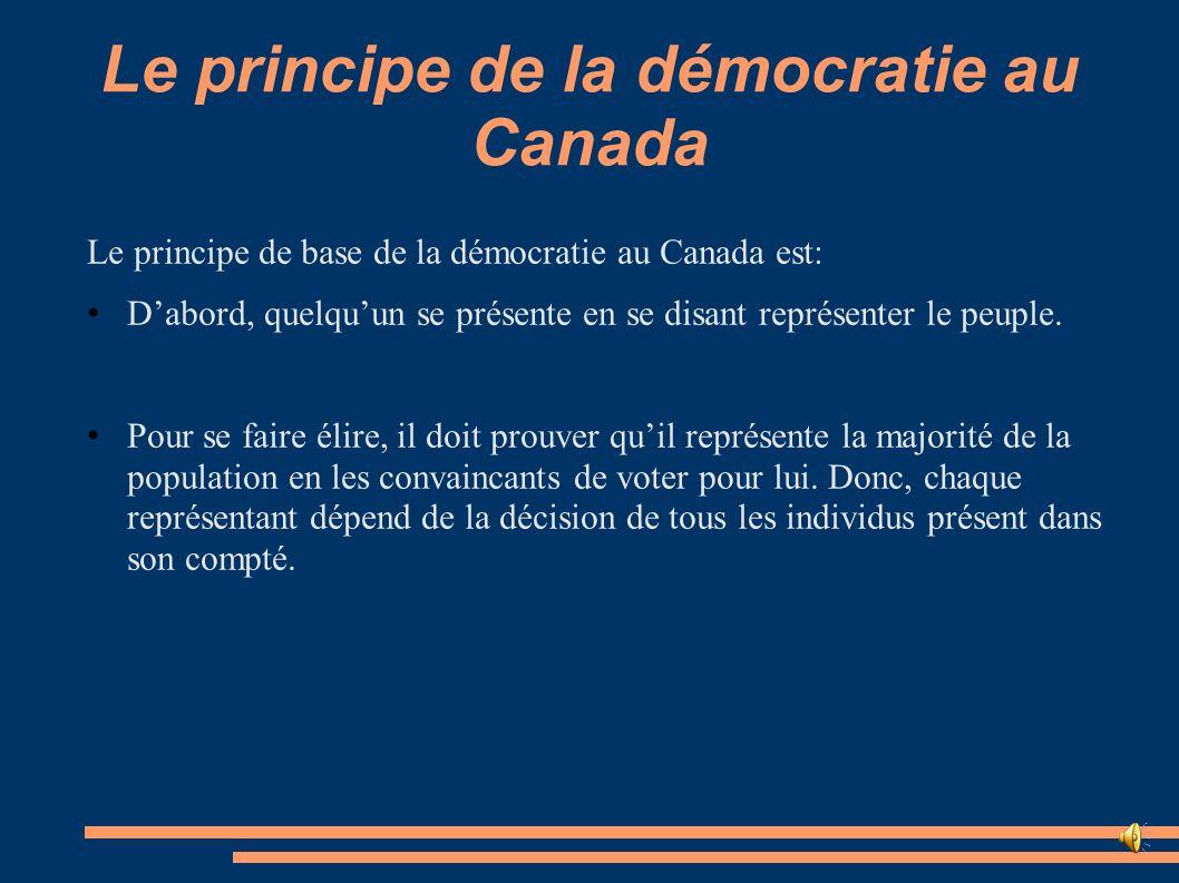 Le principe de la démocratie au Canada Ensuite, le parti qui a le plus de représentant dans tous les comptés, qui est donc le parti qui satisfait le plus de personnes, a donc le privilège de se nommer le gouvernement fédéral.