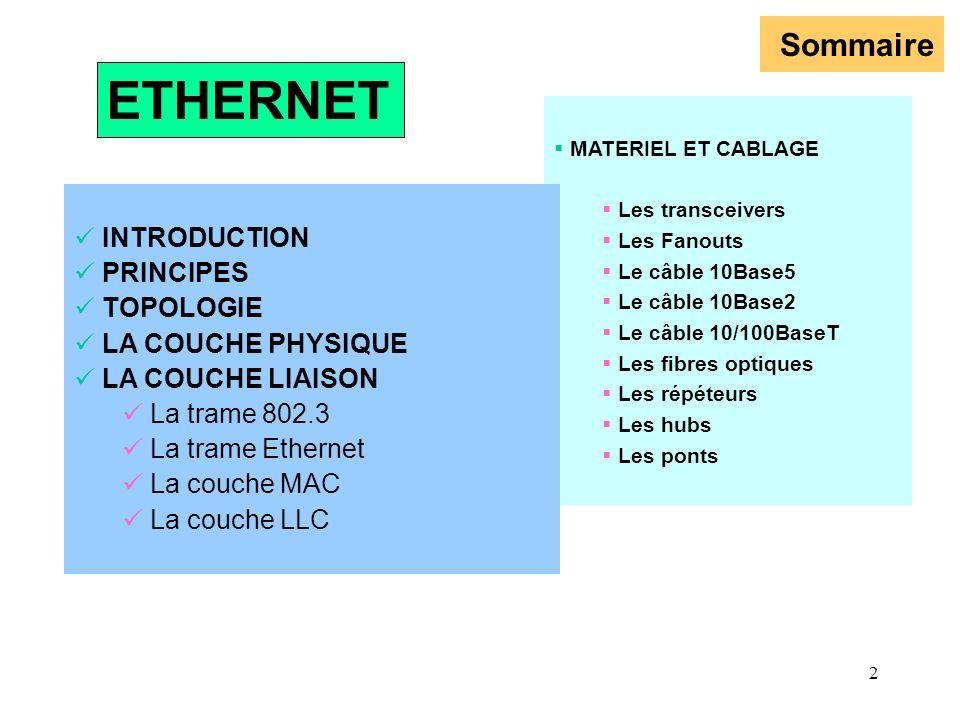 2 Sommaire MATERIEL ET CABLAGE Les transceivers Les Fanouts Le câble 10Base5 Le câble 10Base2 Le câble 10/100BaseT Les fibres optiques Les répéteurs L