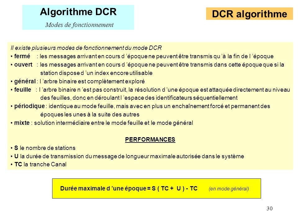 30 Il existe plusieurs modes de fonctionnement du mode DCR fermé : les messages arrivant en cours d époque ne peuvent être transmis qu à la fin de l é