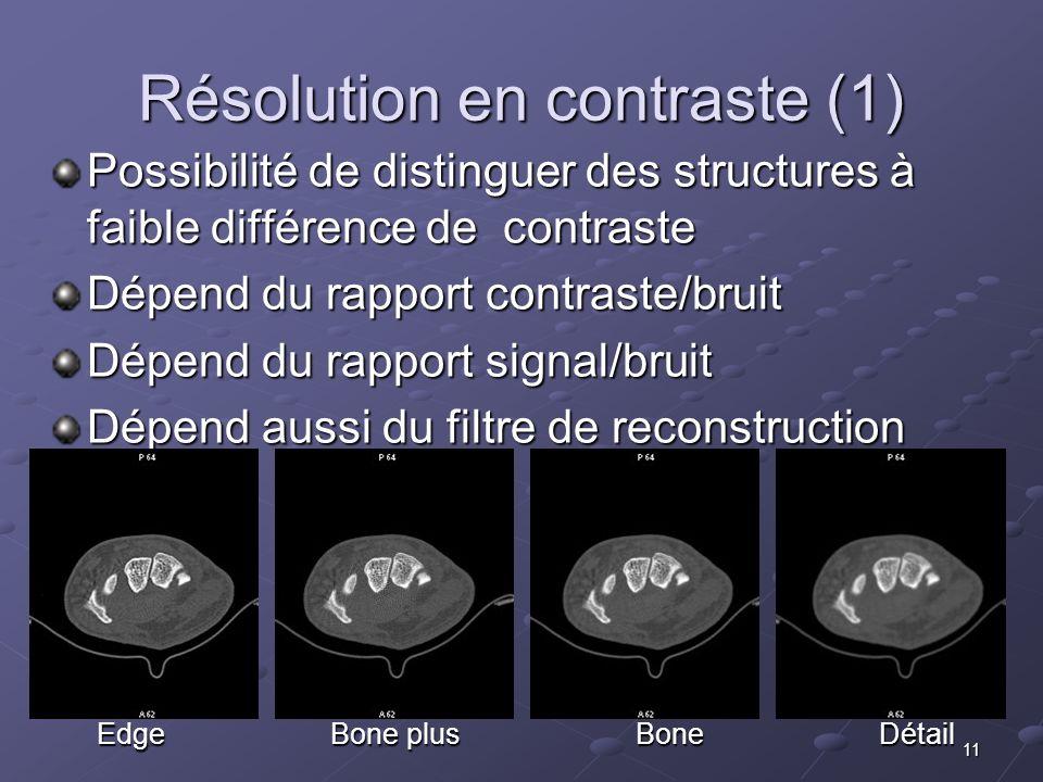 11 Résolution en contraste (1) Possibilité de distinguer des structures à faible différence de contraste Dépend du rapport contraste/bruit Dépend du r