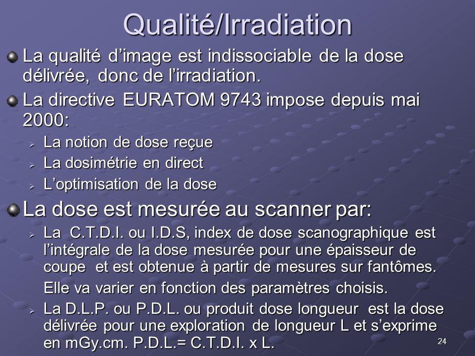 24Qualité/Irradiation La qualité dimage est indissociable de la dose délivrée, donc de lirradiation. La directive EURATOM 9743 impose depuis mai 2000: