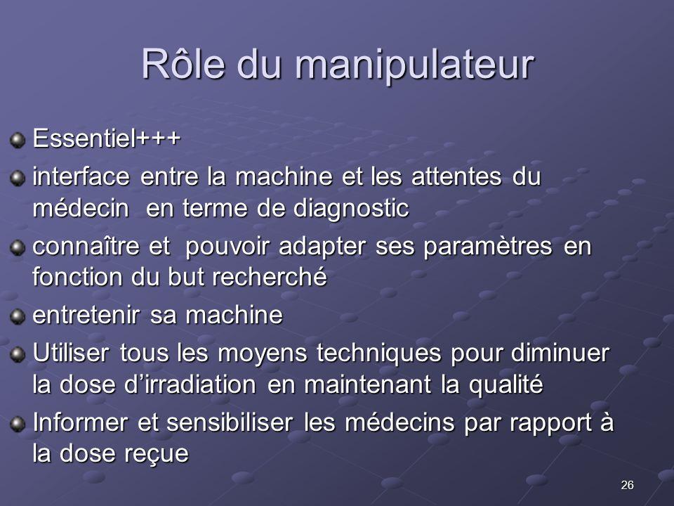 26 Rôle du manipulateur Essentiel+++ interface entre la machine et les attentes du médecin en terme de diagnostic connaître et pouvoir adapter ses par