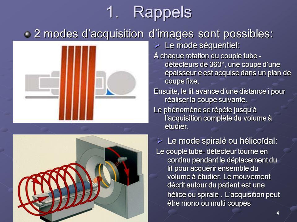 4 1.Rappels Le mode séquentiel: Le mode séquentiel: À chaque rotation du couple tube - détecteurs de 360°, une coupe dune épaisseur e est acquise dans