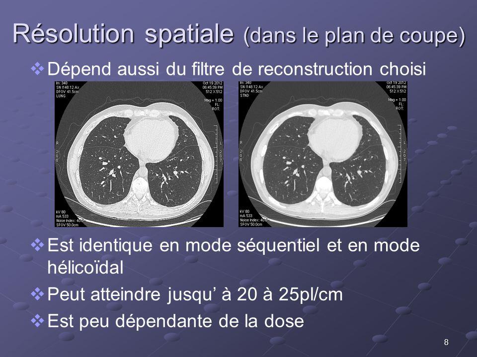 Résolution spatiale (dans le plan de coupe) Dépend aussi du filtre de reconstruction choisi Est identique en mode séquentiel et en mode hélicoïdal Peu