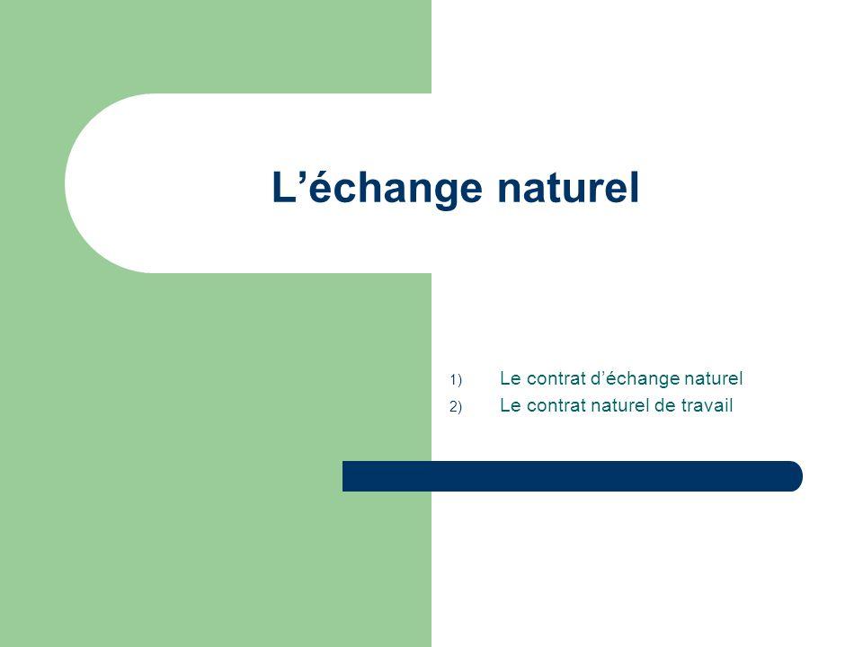 Léchange naturel 1) Le contrat déchange naturel 2) Le contrat naturel de travail