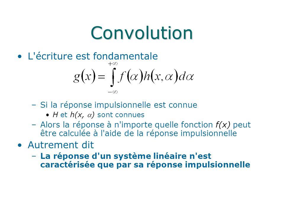Convolution L'écriture est fondamentale –Si la réponse impulsionnelle est connue H et h(x, ) sont connues –Alors la réponse à n'importe quelle fonctio