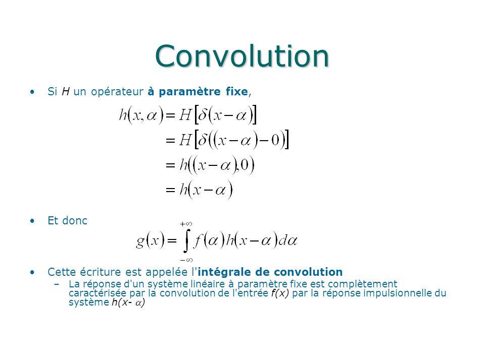 Convolution Si H un opérateur à paramètre fixe, Et donc Cette écriture est appelée l'intégrale de convolution –La réponse d'un système linéaire à para