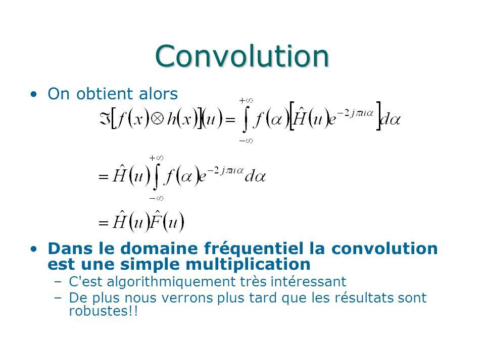 Convolution On obtient alors Dans le domaine fréquentiel la convolution est une simple multiplication –C'est algorithmiquement très intéressant –De pl