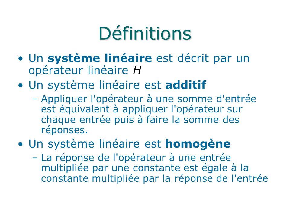 Définitions Un système linéaire est décrit par un opérateur linéaire H Un système linéaire est additif –Appliquer l'opérateur à une somme d'entrée est