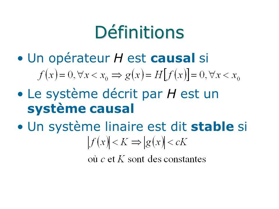 Définitions Un opérateur H est causal si Le système décrit par H est un système causal Un système linaire est dit stable si