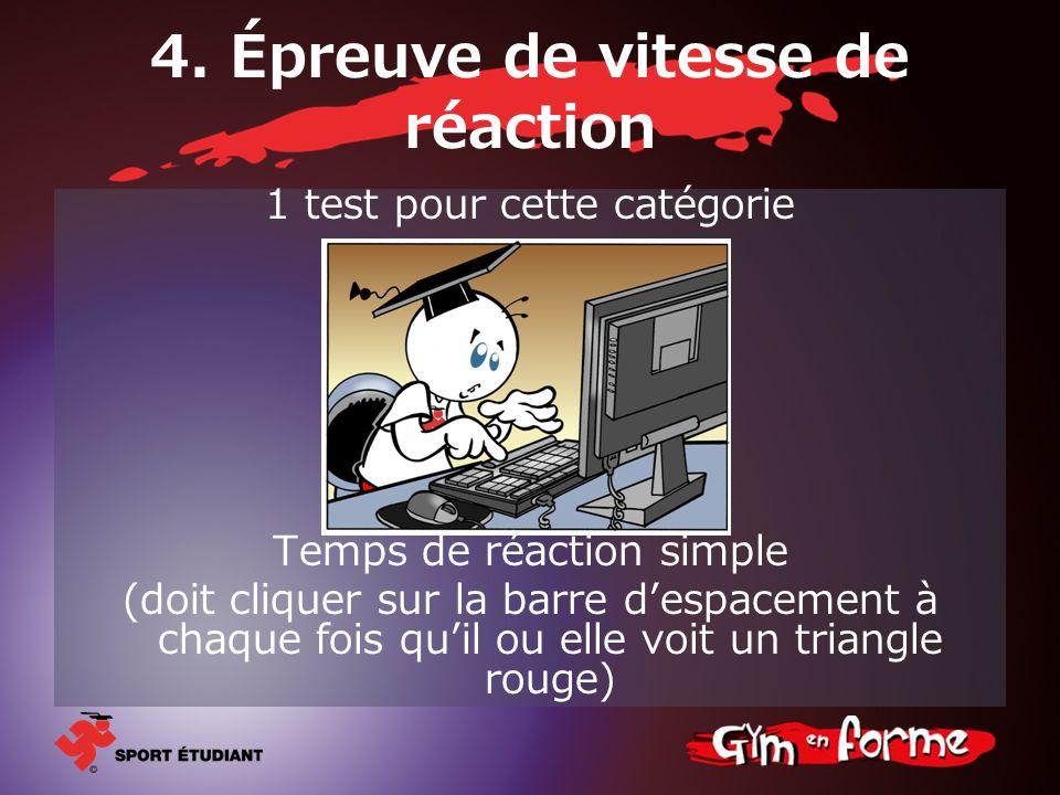4. Épreuve de vitesse de réaction 1 test pour cette catégorie Temps de réaction simple (doit cliquer sur la barre despacement à chaque fois quil ou el