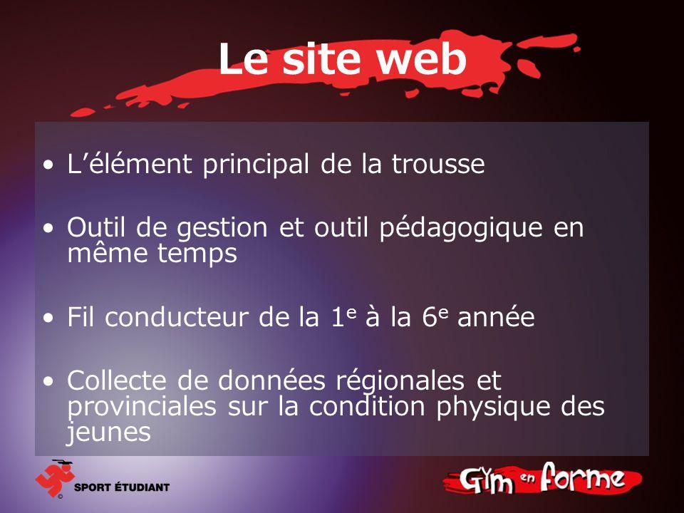 Le site web Lélément principal de la trousse Outil de gestion et outil pédagogique en même temps Fil conducteur de la 1 e à la 6 e année Collecte de d