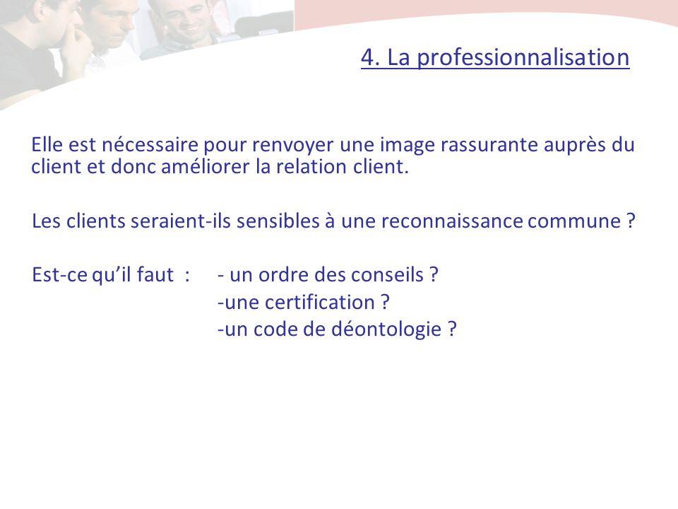 4. La professionnalisation Elle est nécessaire pour renvoyer une image rassurante auprès du client et donc améliorer la relation client. Les clients s