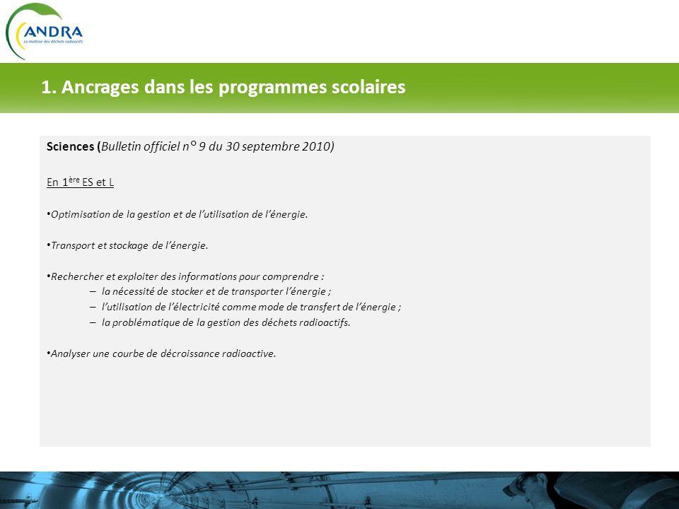 1. Ancrages dans les programmes scolaires Sciences (Bulletin officiel n° 9 du 30 septembre 2010) En 1 ère ES et L Optimisation de la gestion et de lut