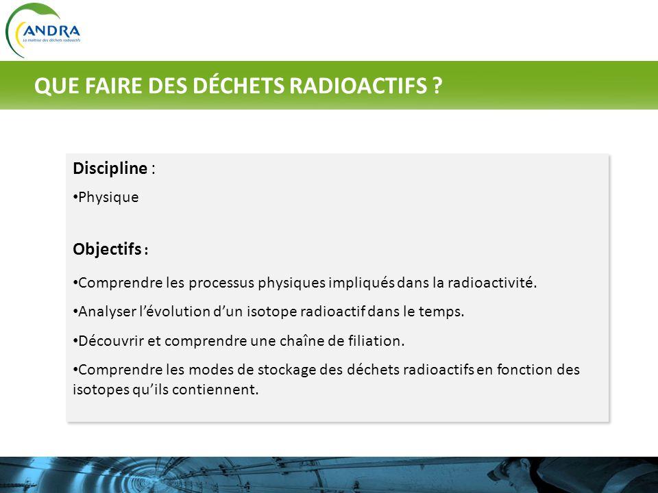 Discipline : Physique Objectifs : Comprendre les processus physiques impliqués dans la radioactivité. Analyser lévolution dun isotope radioactif dans