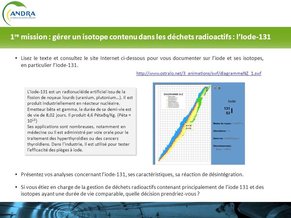 Lisez le texte et consultez le site Internet ci-dessous pour vous documenter sur liode et ses isotopes, en particulier lIode-131. Liode-131 est un rad