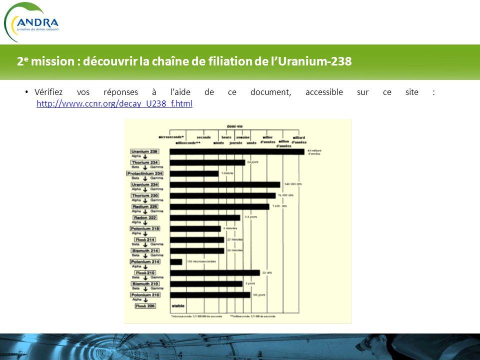 Vérifiez vos réponses à laide de ce document, accessible sur ce site : http://www.ccnr.org/decay_U238_f.htmlhttp://www.ccnr.org/decay_U238_f.html 2 e