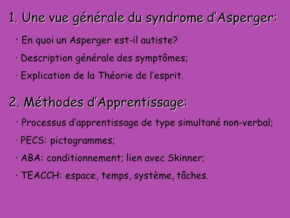 1.Une vue générale du syndrome dAsperger: · En quoi un Asperger est-il autiste.