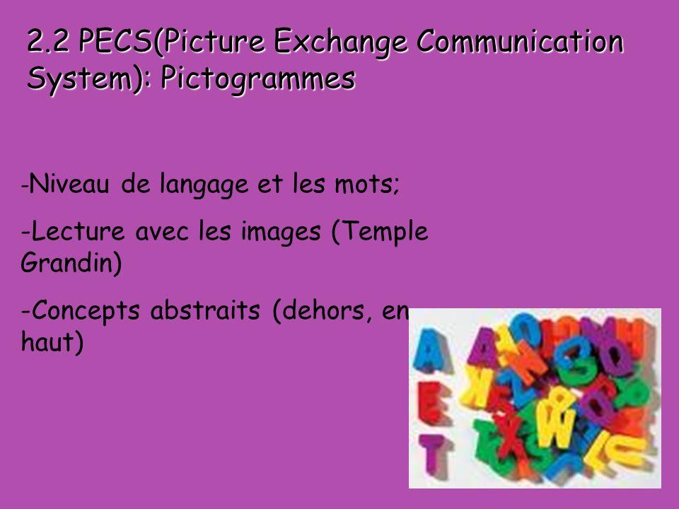 - Niveau de langage et les mots; -Lecture avec les images (Temple Grandin) -Concepts abstraits (dehors, en haut) 2.2 PECS(Picture Exchange Communication System): Pictogrammes