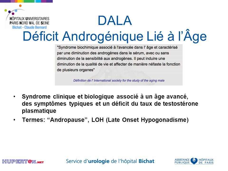 DALA Déficit Androgénique Lié à lÂge Syndrome clinique et biologique associé à un âge avancé, des symptômes typiques et un déficit du taux de testosté