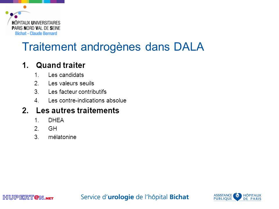 Traitement androgènes dans DALA 1.Quand traiter 1.Les candidats 2.Les valeurs seuils 3.Les facteur contributifs 4.Les contre-indications absolue 2.Les