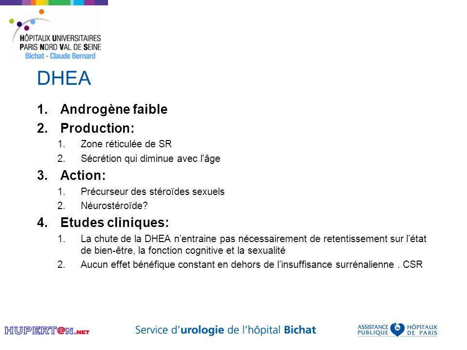 DHEA 1.Androgène faible 2.Production: 1.Zone réticulée de SR 2.Sécrétion qui diminue avec l'âge 3.Action: 1.Précurseur des stéroïdes sexuels 2.Néurost
