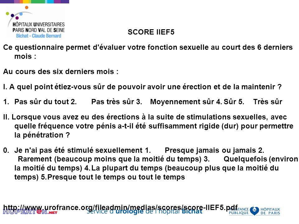 SCORE IIEF5 Ce questionnaire permet d'évaluer votre fonction sexuelle au court des 6 derniers mois : Au cours des six derniers mois : I. A quel point