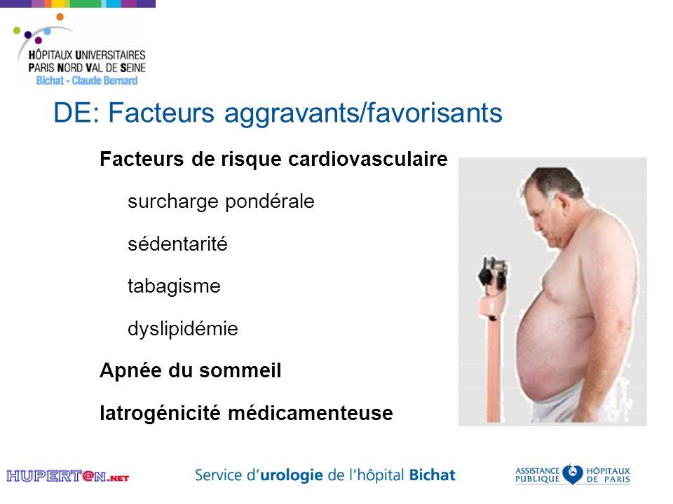 DE: Facteurs aggravants/favorisants Facteurs de risque cardiovasculaire surcharge pondérale sédentarité tabagisme dyslipidémie Apnée du sommeil Iatrog