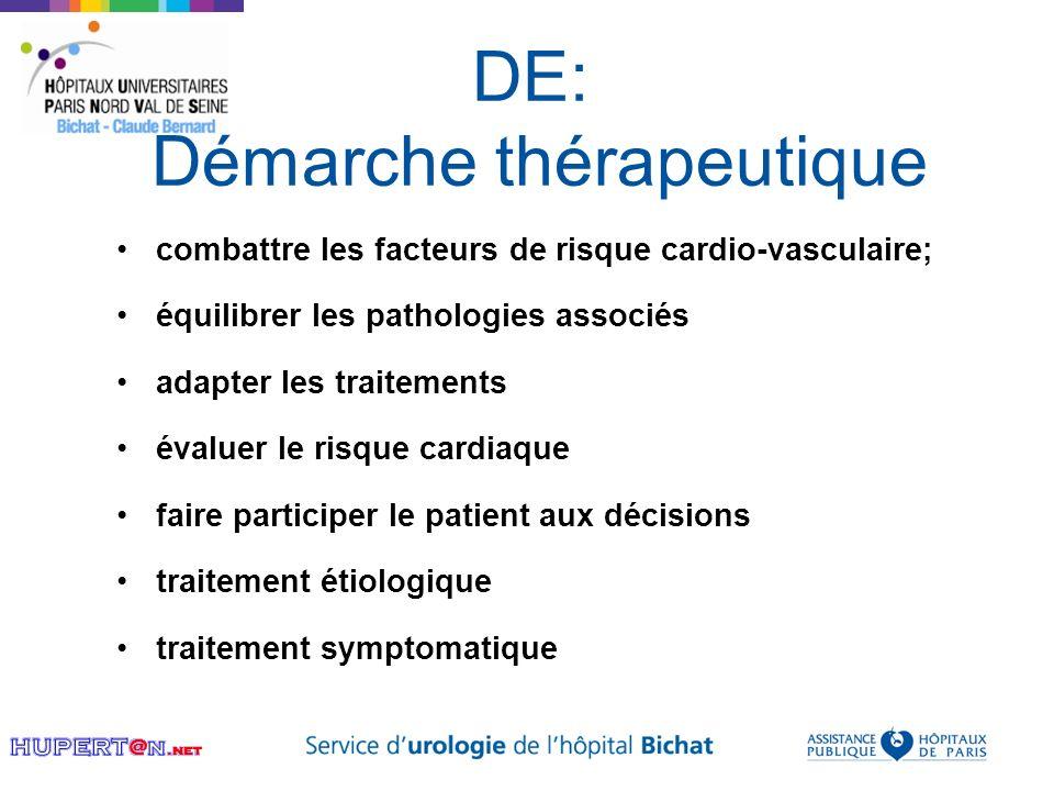 DE: Démarche thérapeutique combattre les facteurs de risque cardio-vasculaire; équilibrer les pathologies associés adapter les traitements évaluer le